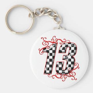 auto racing number 13 keychain