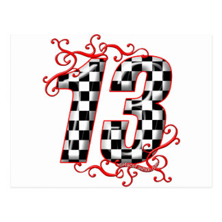 auto racing number 13 postcard