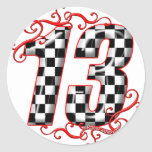 auto racing number 13 stickers