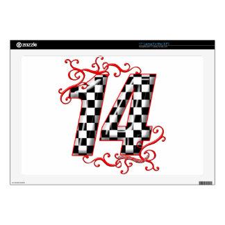 """auto racing number 14 decals for 17"""" laptops"""