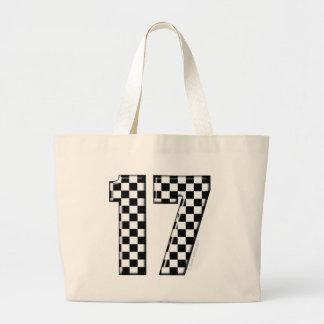 auto racing number 17 jumbo tote bag