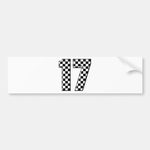 auto racing number 17 bumper sticker