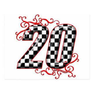 Auto racing number 20 postcard