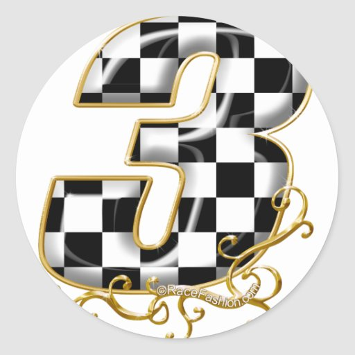auto racing number 3 gold classic round sticker