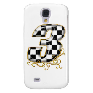 auto racing number 3 gold galaxy s4 cover