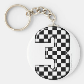auto racing number 3 keychain