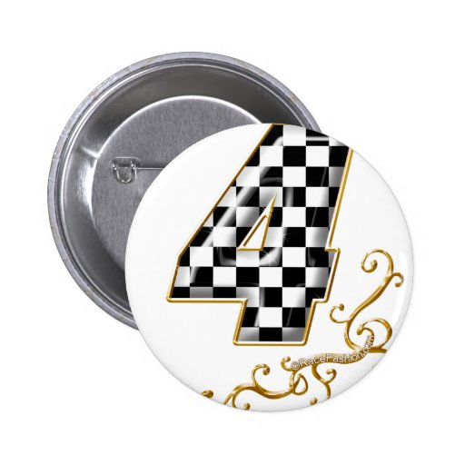 auto racing number 4 2 inch round button