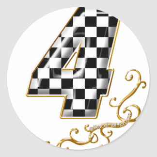 auto racing number 4 classic round sticker