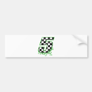 auto racing number 5 green bumper sticker