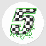 auto racing number 5 green sticker