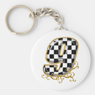 auto racing number 9 keychain