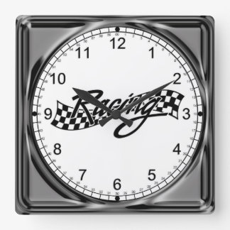 Auto Racing Square Wall Clock