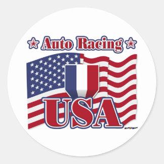 Auto Racing USA Classic Round Sticker