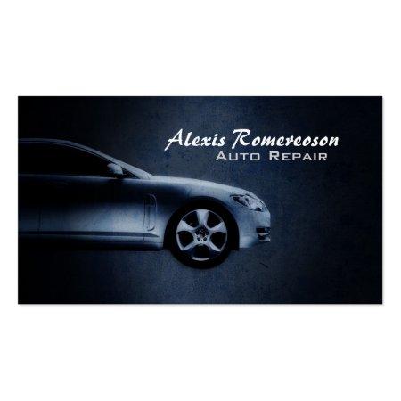 Blue Car Grunge Auto Mechanic Business Cards