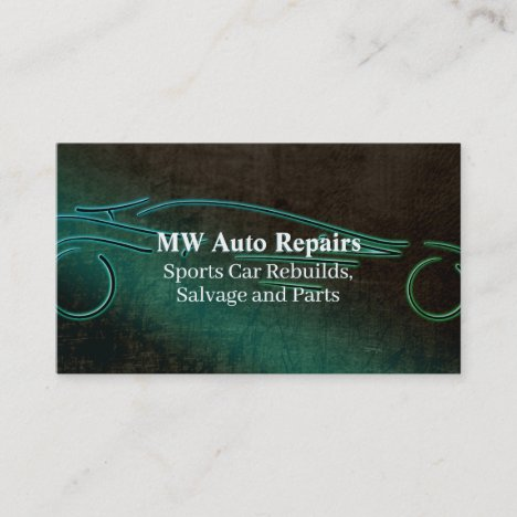Auto repairs, teal leather-effect, sports car logo business card