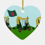Auto Rickshaws in Bangladesh Double-Sided Heart Ceramic Christmas Ornament