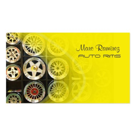 Yellow Auto Rims Business Cards