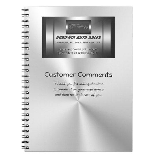Auto Sales Customer Comments - faux metal Notebook