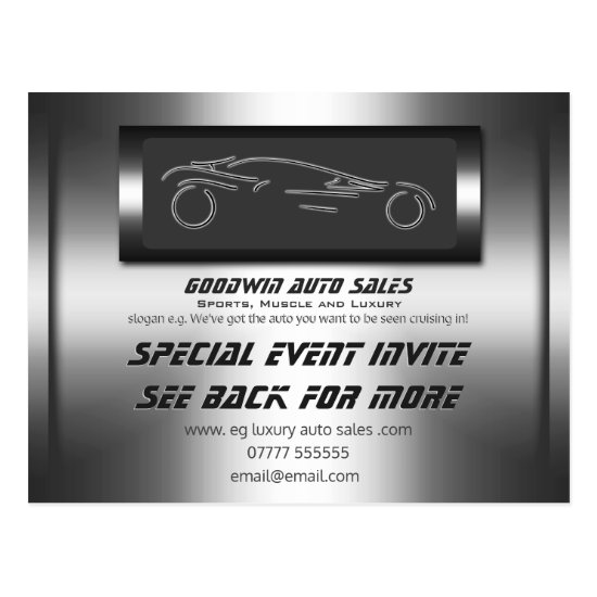 Auto Sales Event Invite - faux metal, auto logo Postcard