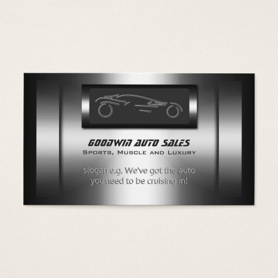 Auto Sales - faux metal, silver auto Business Card