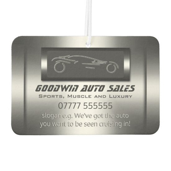 Auto Sales - faux metal, silver auto Car Air Freshener