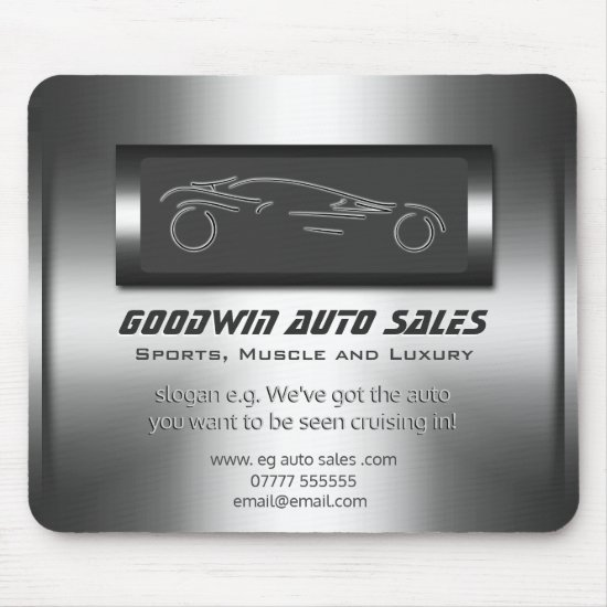 Auto Sales - faux metal, silver auto Showroom Mouse Pad