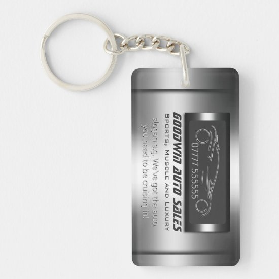 Auto Sales Giveaway - faux metal, silver auto Keychain
