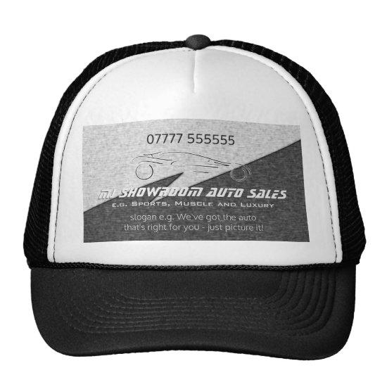 Auto Sales Giveaway - faux metal, silver auto Trucker Hat