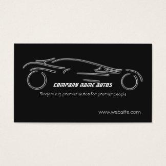 Auto Sales, Luxury Silver Sportscar on black Business Card