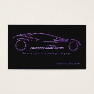 Auto Sales, Purple Luxury Sportscar on black Business Card