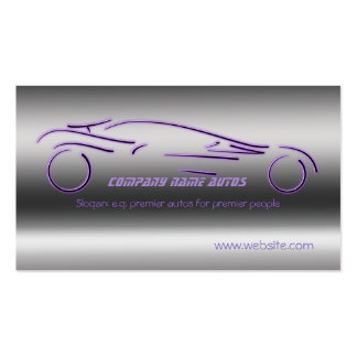 Auto Sales, Purple Luxury Sportscar, steel-effect Double-Sided Standard Business Cards (Pack Of 100)