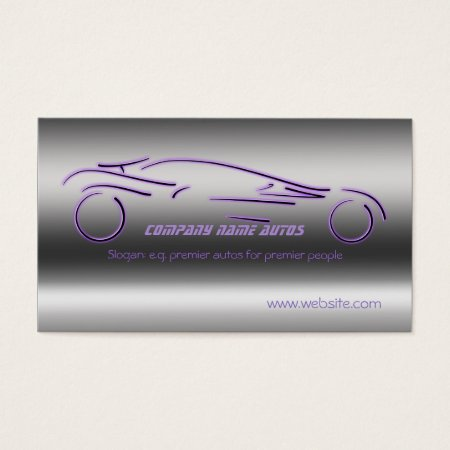 Auto Sales, Purple Luxury Sportscar, steel-effect Business Card