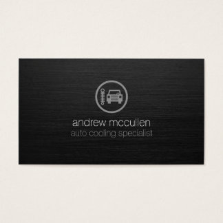 Auto Service CarThermostat Icon Dark Brushed Metal Business Card