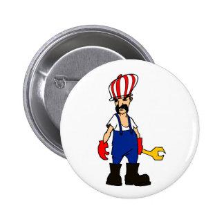 auto service cartoon man car repair mechanic funny pinback button
