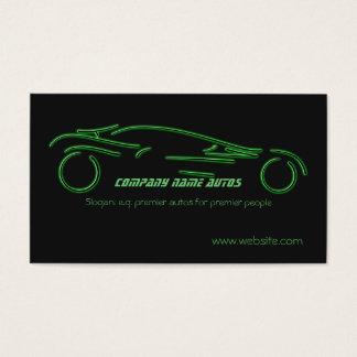 Auto trade Car - Green Sportscar on black template Business Card