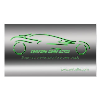 Auto trade Car - Green Sportscar on steel-effect Business Card Template