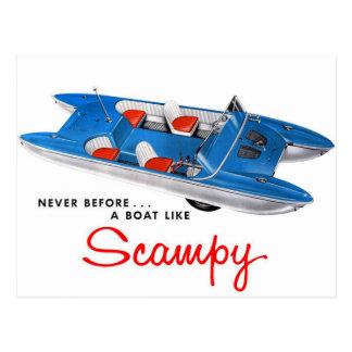 Auto y barco retros del kitsch 50s Scampy del Postales
