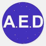 Autoadhesivo AED Pegatina Redonda