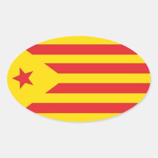 """Autoadhesivo Bandera Catalana """"Serenya """" Pegatina Ovalada"""