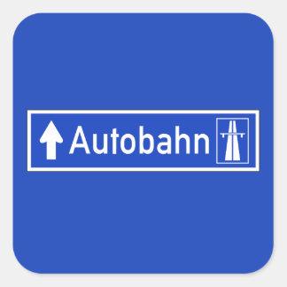 Autobahn, señal de tráfico, Alemania Pegatina Cuadrada
