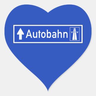 Autobahn, señal de tráfico, Alemania Pegatina En Forma De Corazón