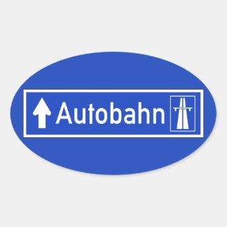Autobahn, señal de tráfico, Alemania Pegatina Ovalada