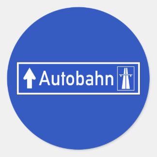 Autobahn, señal de tráfico, Alemania Pegatina Redonda