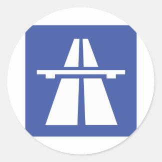 Autobahnschild Classic Round Sticker
