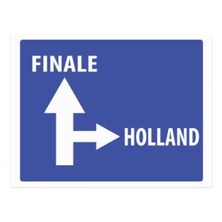 Autobahnschild Finale Holland Postcard
