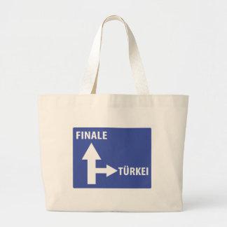 Autobahnschild Finale Türkei Large Tote Bag