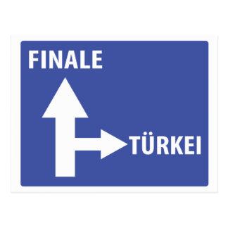 Autobahnschild Finale Türkei Postcard