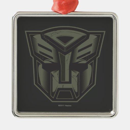 Autobot agrietó símbolo adorno navideño cuadrado de metal