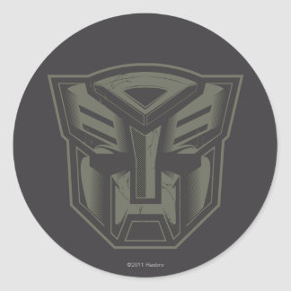 Autobot agrietó símbolo etiquetas redondas