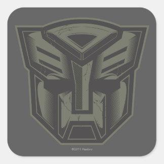 Autobot agrietó símbolo pegatina cuadrada